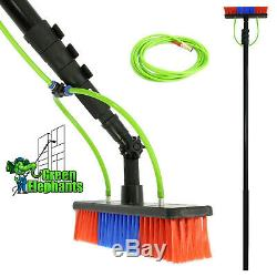 20FT Extendable Pole Water Fed Telescopic Hose Wash Brush Window Cleaner