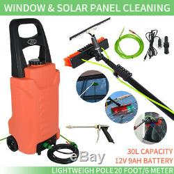 20FT Water Fed Telescopic Solar Panel Washing+30L Water Tank Cleaning Trolley
