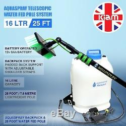 25ft Telescopic Water Fed Pole & 16L Backpack Spray Tank Window Cleaning System