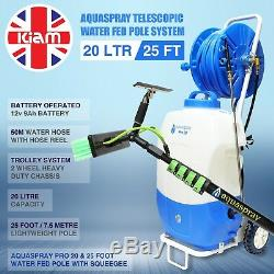25ft Window Cleaning Telescopic Water Fed Pole Squeegee & 20L Spray Tank Trolley