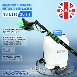 30ft Telescopic Water Fed Pole & 16L Backpack Spray Tank Window Cleaning System