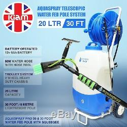30ft Telescopic Water Fed Pole Squeegee & 20L Spray Tank Window Cleaning Trolley