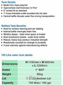 Ecosure Baffled Water Tank 750 Litres Ideal for car valeting or Window Cleaning