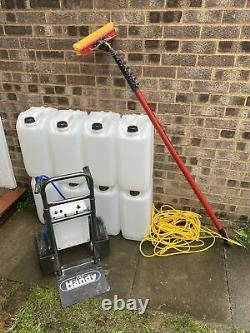 Water fed pole window cleaning system portable with tanks and pole. Full kit