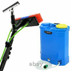 Window Cleaning Pole 20ft & Backpack Telescopic Extension Glass Brush Water Fed