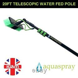 20ft Télescopique Water Fed Pole Léger Window Cleaning Water Sprayer Home