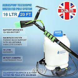 20ft Window Cleaning Télescopique Eau Fed Pole Squeegee & 16l Backpack Spray