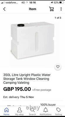 350l Litres Vertical Plastique Réservoir D'eau Valeting Nettoyage De Vitres Camping