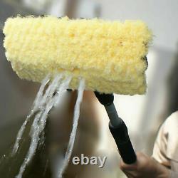 3m Aluminium Telescopic Water Fed Extendable Car Wash Window C Squeegee Brush Uk