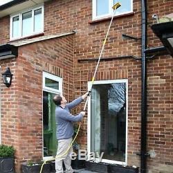 3m Extendable Pole Eau Fed Télescopique Tuyau Brosse De Lavage Raclette Cleaner 9ft Uk