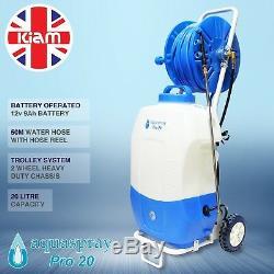 Aquaspray Pro 20l Nettoyage De Vitres De Pulvérisation D'eau Réservoir 50m Dévidoir Batterie D'alimentation