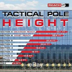 Reach-it Tactique Elite 25ft Fibre De Carbone Eau Fed Nettoyage De Vitres Pôle Kit